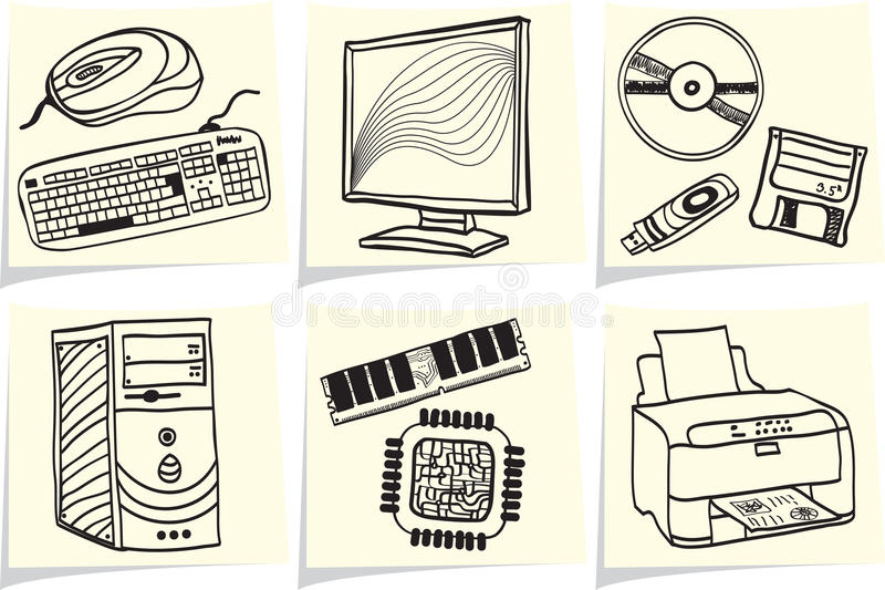 Download Pc Components And Peripherals On Memo Sticks Stock Images - Image: 24087164