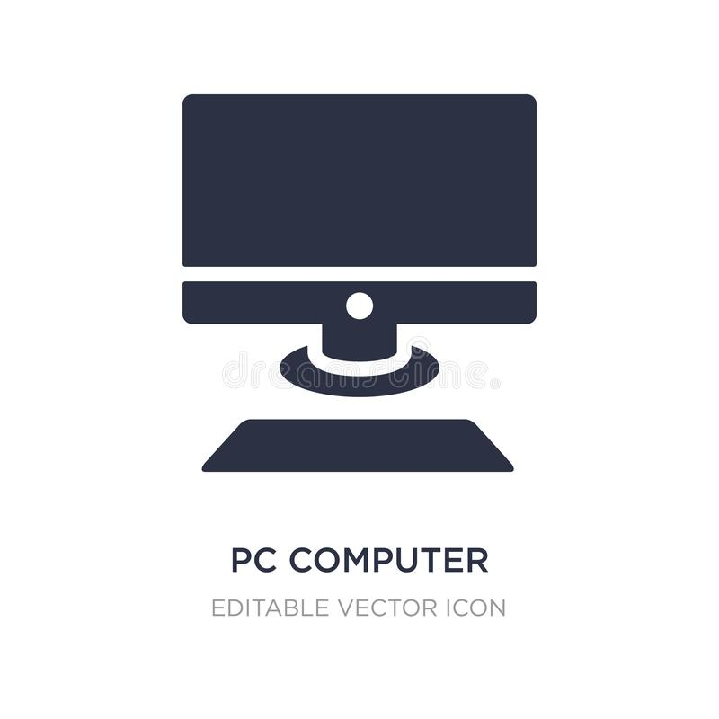 Pc computer with monitor icon on white background. Simple element illustration from Computer concept. Pc computer with monitor icon symbol design royalty free illustration