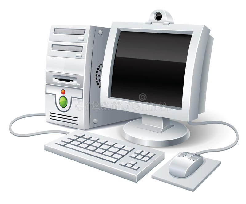 Pc computer with monitor keyboard and mouse. Illustration, isolated on white background vector illustration