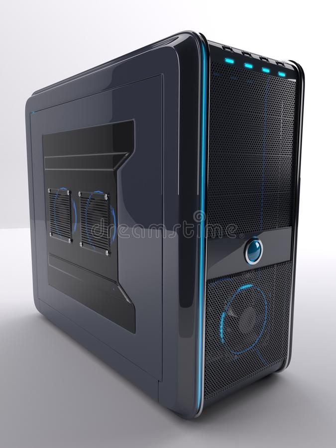 PC Computer Tower. 3D Render of PC Computer Tower royalty free illustration