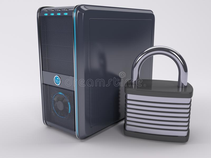 PC Computer Tower. 3D Render of PC Computer Tower vector illustration