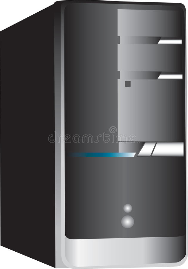 PC computer tower on white. Illustration of a personal computer tower isolated against a white background vector illustration