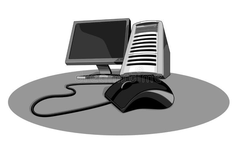 PC con gris del ratón stock de ilustración