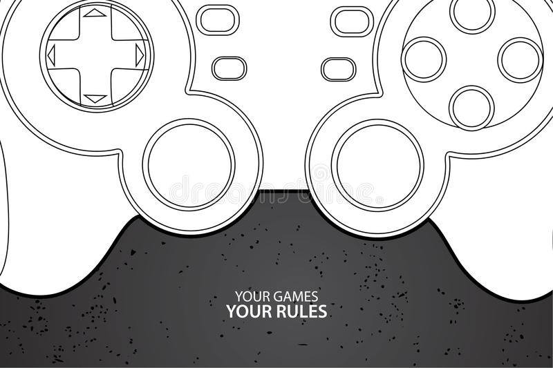 PC or console controller. Vector console or PC joystick on black background vector illustration