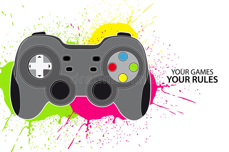PC or console controller. Vector console or PC joystick on white background stock illustration