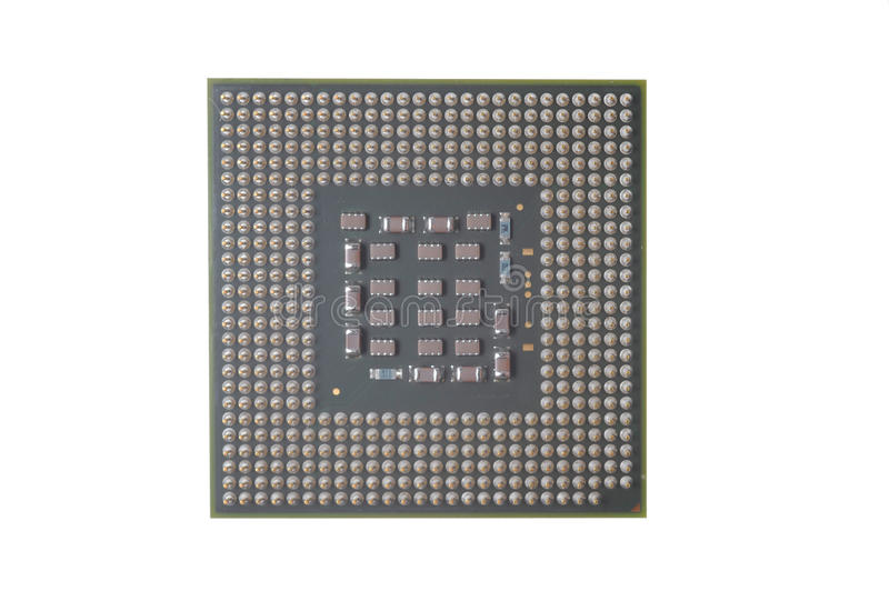 PC CPU Chip. Isolated on White royalty free stock photography