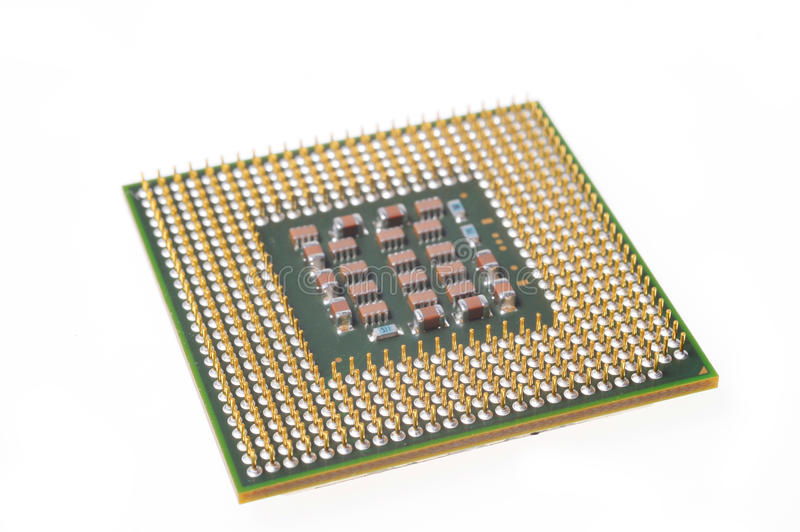 PC CPU Chip. Isolated on White royalty free stock photo