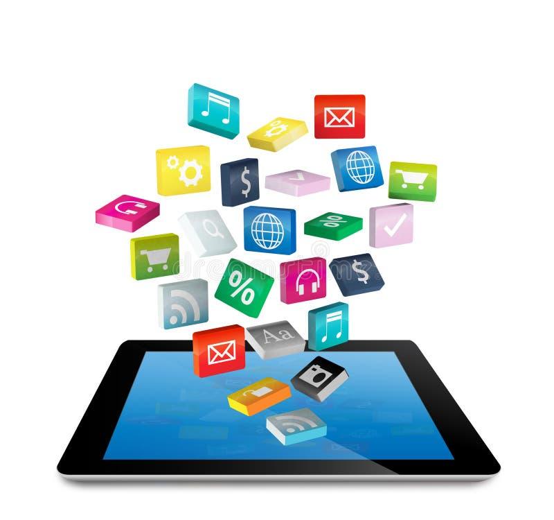 PC da tabuleta com ícones da aplicação ilustração royalty free