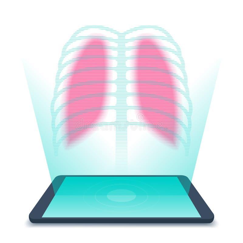PC da tabuleta com holograma dos pulmões humanos Vetor da telemedicina concentrado ilustração stock