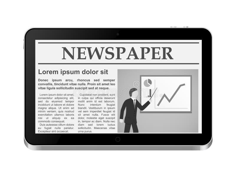 PC da tabuleta com jornal em linha ilustração do vetor