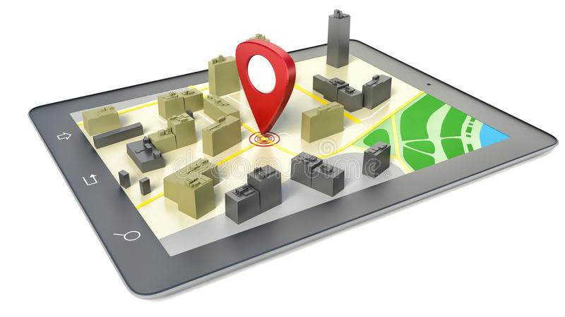 PC da tabuleta com o mapa sem fio do navegador GPS ilustração do vetor