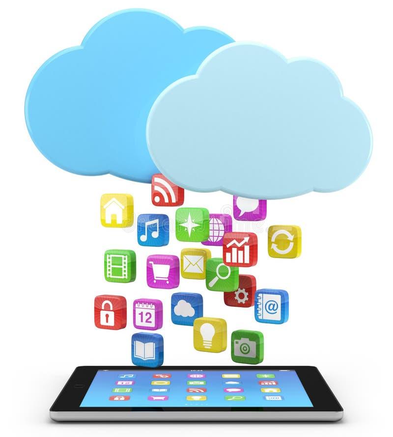 PC da tabuleta de Digitas com ícones do app ilustração stock