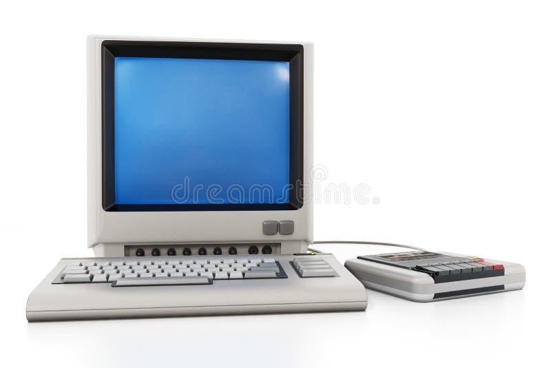 PC de cru avec le lecteur de cassette illustration 3D illustration de vecteur