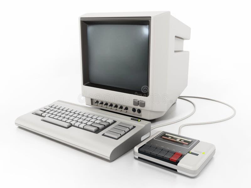 PC de cru avec le lecteur de cassette illustration 3D illustration stock