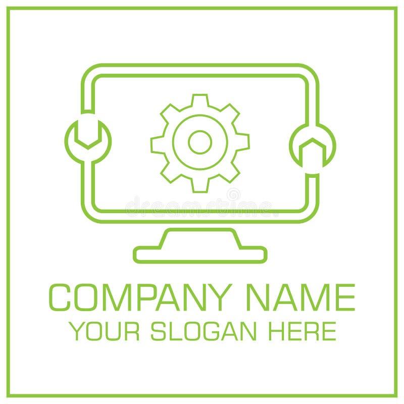 PC-de Dienst Logo Template Design Digital Vector van de Computerreparatie vector illustratie