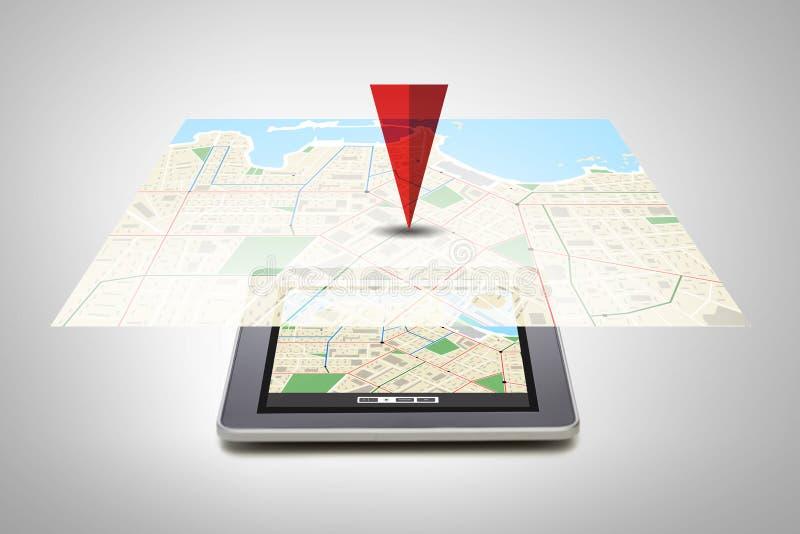 PC de la tableta con el mapa del navegador de los gps en la pantalla ilustración del vector