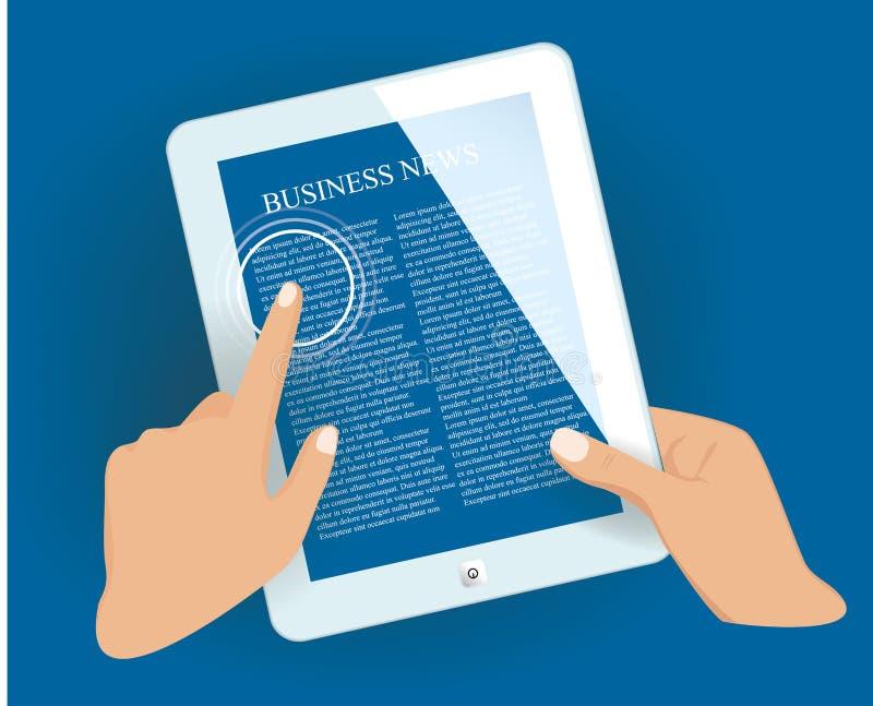 PC de la tableta con la página de las noticias. stock de ilustración