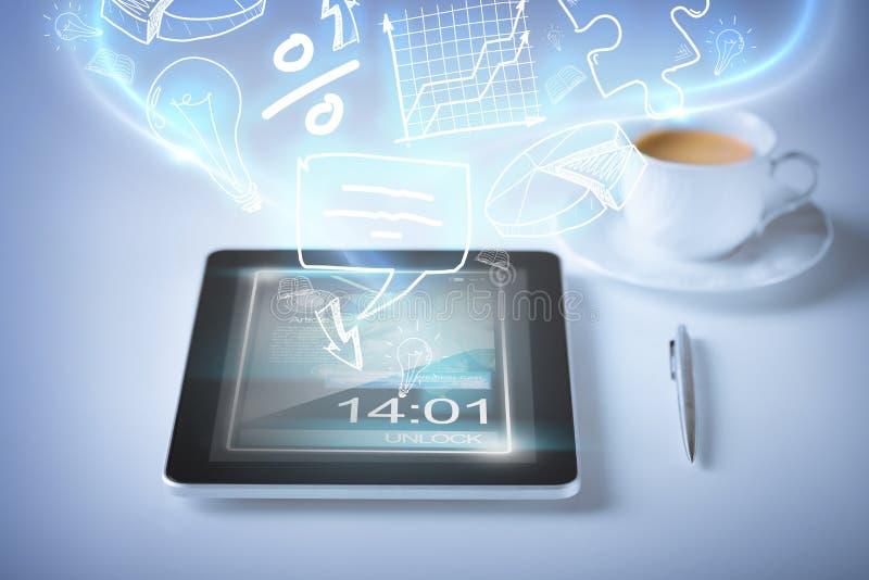 PC de la tableta con los iconos y el café libre illustration