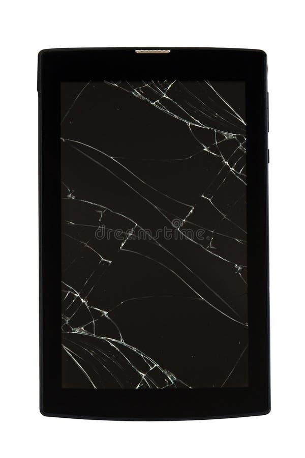 PC de la tableta con la pantalla quebrada Tableta agrietada - glasbruch, aislado en el fondo blanco imagenes de archivo