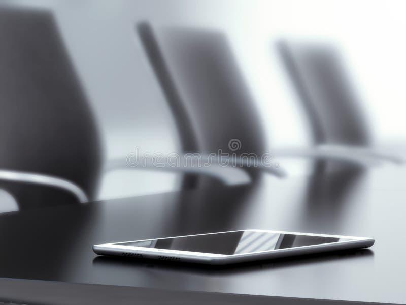 PC de la tableta en la tabla de la oficina ilustración del vector