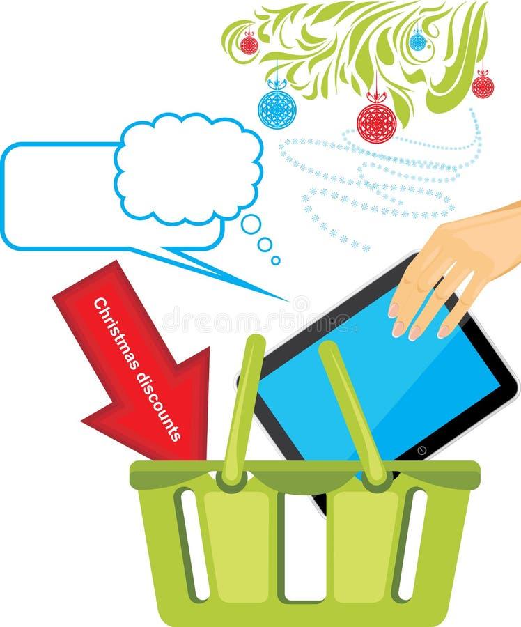 PC de la tableta en una tienda de la cesta. Descuentos de la Navidad stock de ilustración