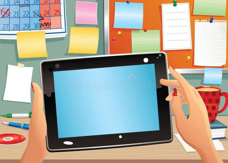 PC de la tableta y cubículo de la oficina ilustración del vector
