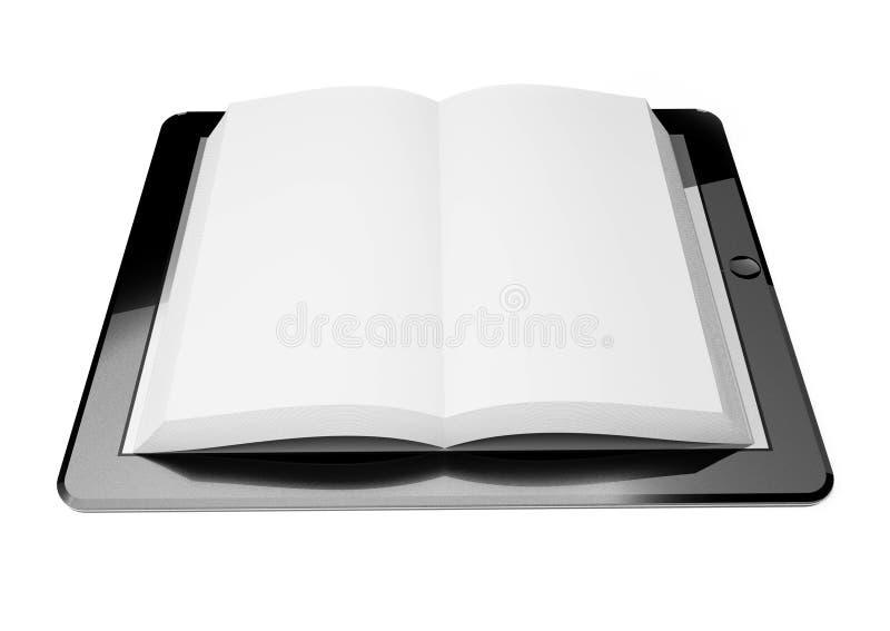 PC de la tablilla 3d, concepto de ebook stock de ilustración