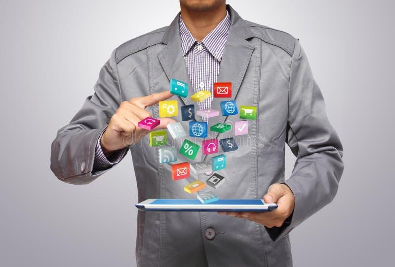 PC de la tablilla con los iconos de la aplicación stock de ilustración