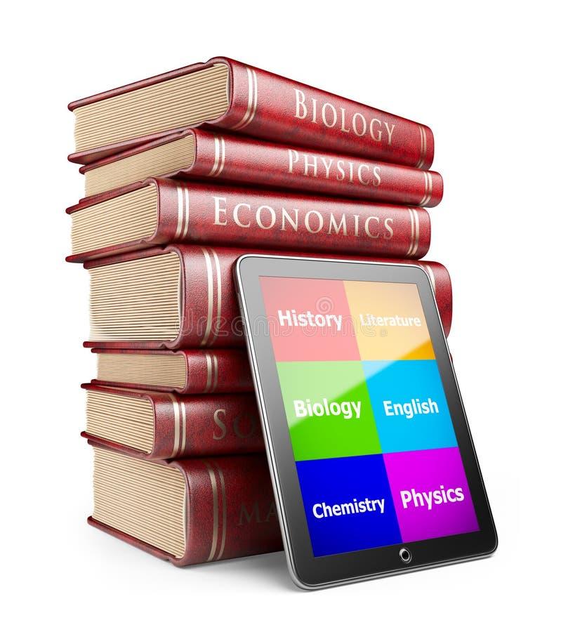 PC de la tablilla con los libros. Concepto de la educación. icono 3D stock de ilustración