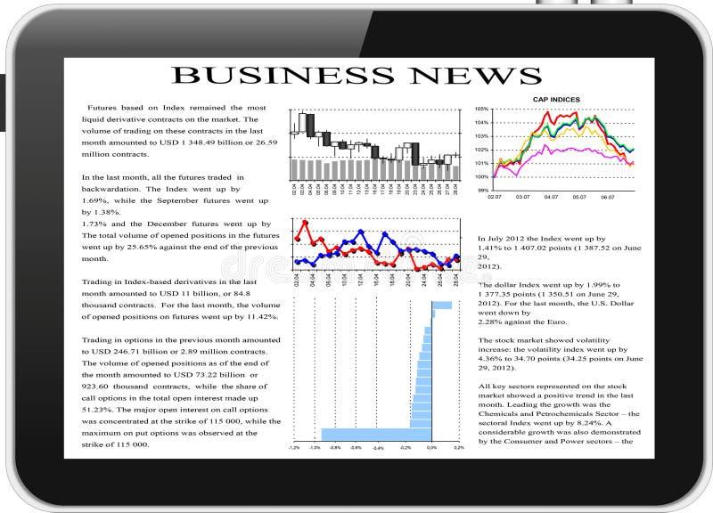 PC de la tablilla con noticias de asunto en la pantalla. ilustración del vector