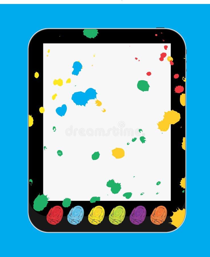 PC de la tablilla del arte y del arte para los cabritos y los niños ilustración del vector