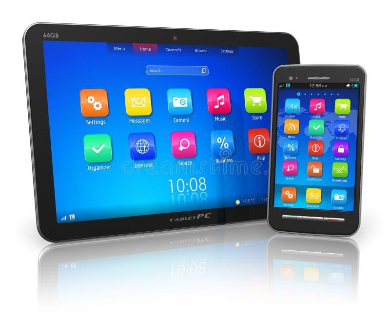 PC de la tablilla y smartphone de la pantalla táctil stock de ilustración