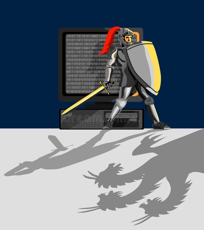 PC de protección del caballero ilustración del vector