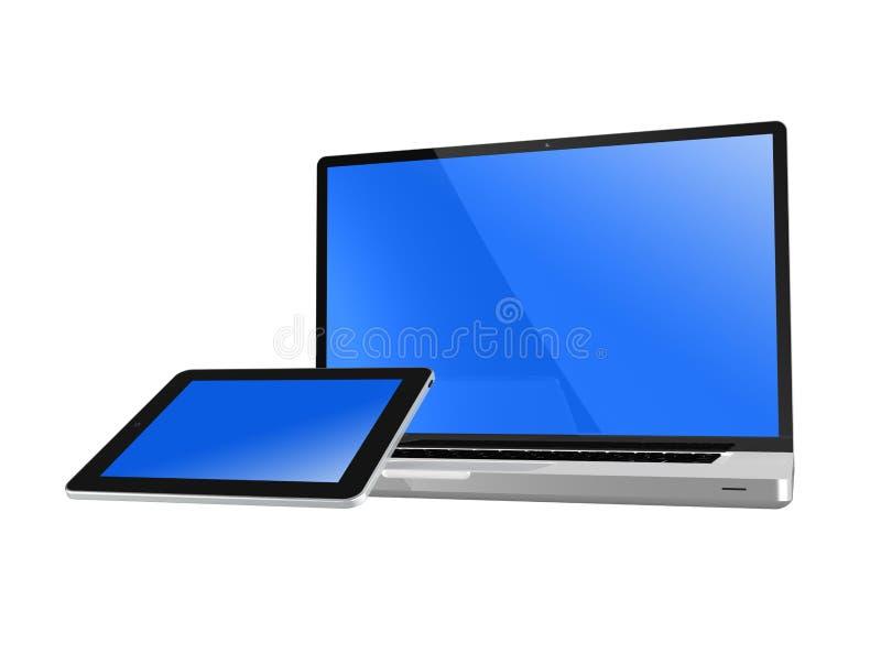 PC de Tablete sur l'ordinateur portable illustration stock
