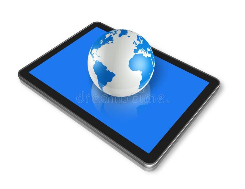 PC de tablette de Digitals et globe du monde illustration libre de droits