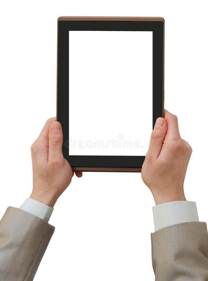 PC de tablette de fixation d'homme d'affaires photographie stock
