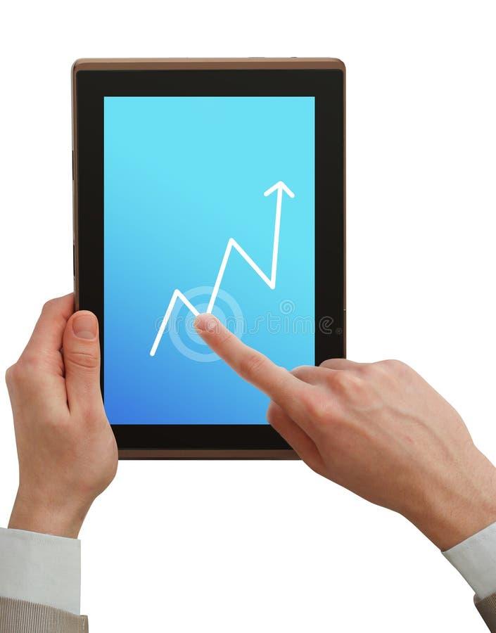 PC de tablette de fixation d'homme d'affaires photos stock