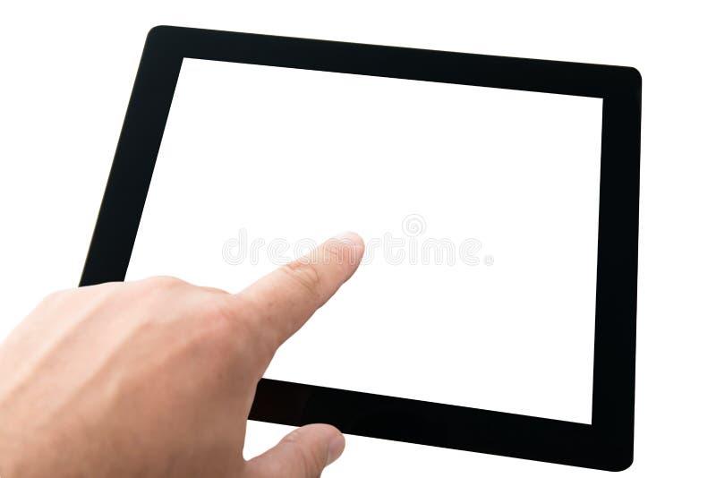 PC de tablette tactile de doigt avec l'écran blanc photos stock