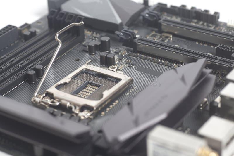 PC del computer della scheda madre con l'incavo 1151 del CPU di Intel LGA immagini stock libere da diritti