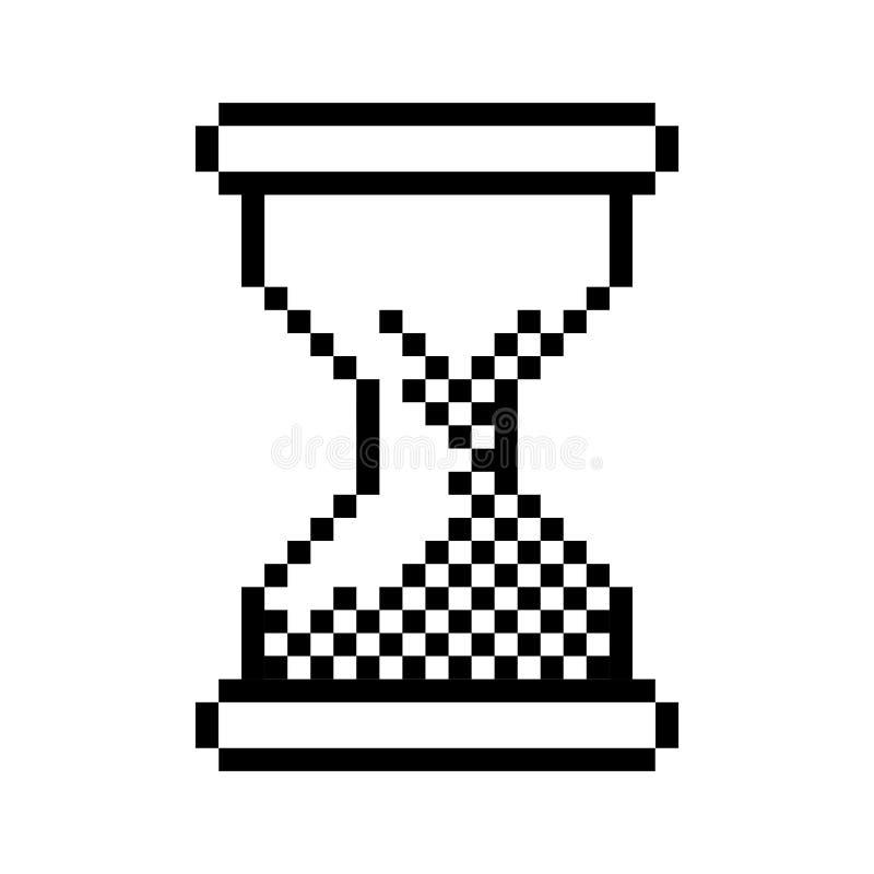 Pc della clessidra pixelated profilo nero illustrazione di stock