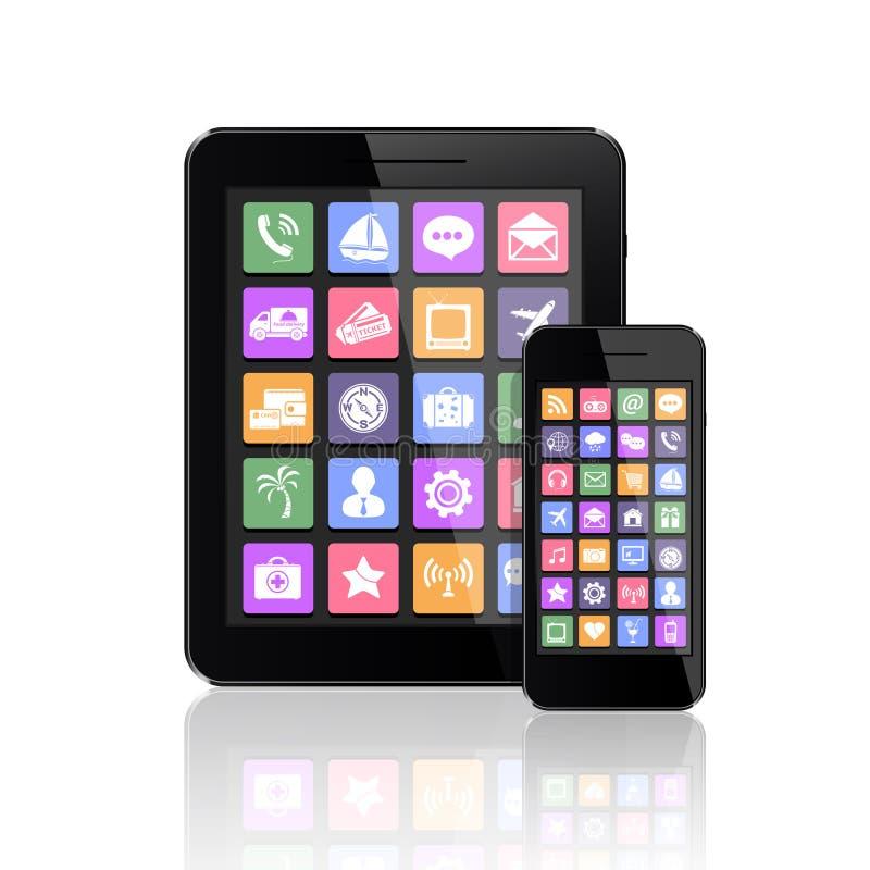 PC della compressa e del telefono cellulare con le icone dei apps illustrazione vettoriale