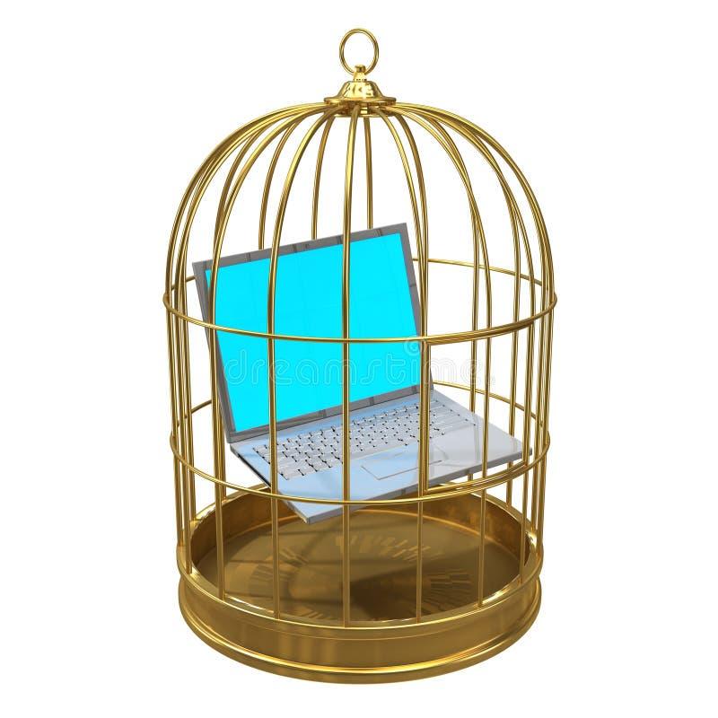 PC des Laptops 3d eingeschlossen in einem Birdcage lizenzfreie abbildung