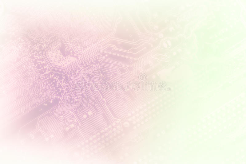 Pc. Detail of printed circuit board, in light violet or pink tones, as a background for your business presentation royalty free stock image