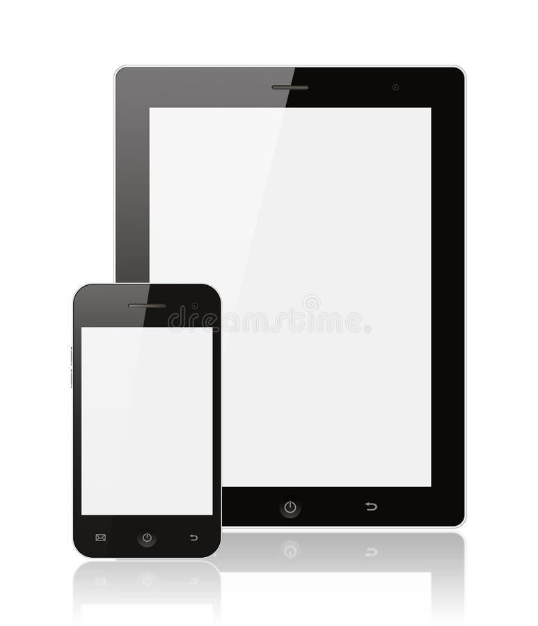 PC digital réaliste moderne de tablette avec le phone intelligent illustration de vecteur