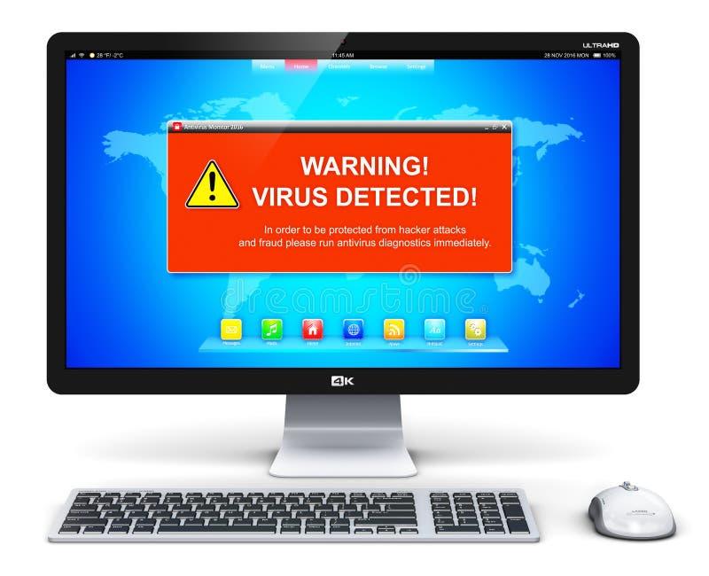 PC do computador de secretária com mensagem de advertência do ataque do vírus na tela ilustração royalty free