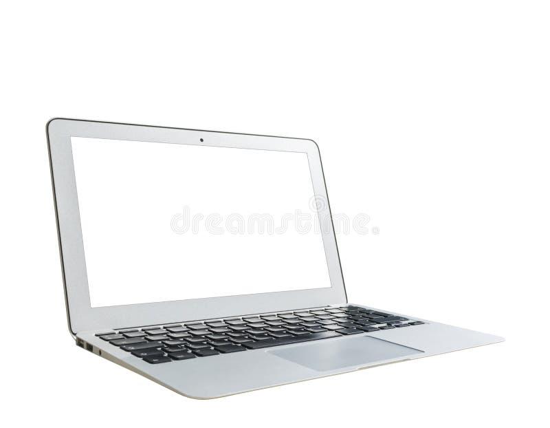 PC för bärbar datordator med åtlöje för tom skärm som isoleras upp på vit bakgrund Bärbar dator isolerad skärm Vit skärm för minn arkivfoto