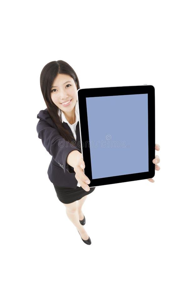 PC för minnestavla för anseende och för visning för affärskvinna arkivbilder