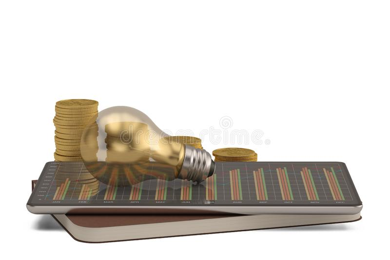 PC finanziario della compressa di concetto con la lampadina isolata su fondo bianco illustrazione 3D illustrazione di stock