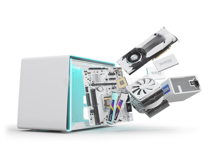 PC hardware components isolated on white. 3d rendering royalty free stock images