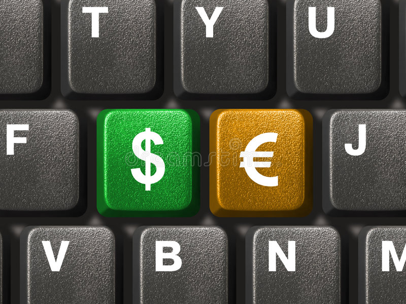 PC keyboard with two money keys. Computer keyboard with two money keys stock images